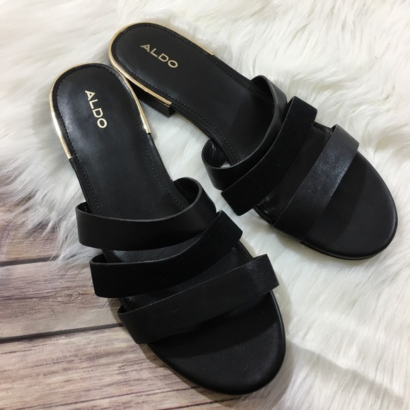 Aldo Shoes - Aldo Slip On Sandals Black Gold Strappy Slides